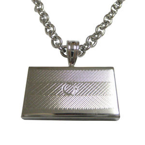 Silver Toned Etched Azerbaijan Flag Necklace